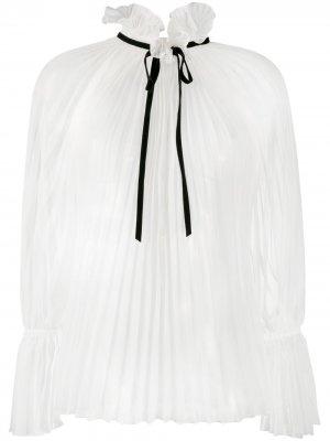 Плиссированная блузка с завязками Philosophy Di Lorenzo Serafini. Цвет: белый