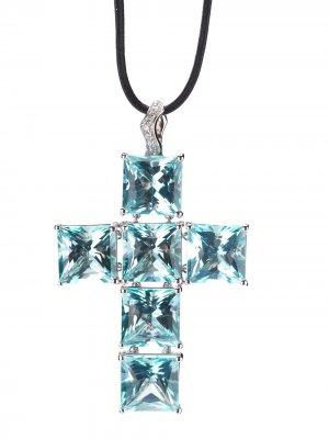 Ожерелье с кулоном в форме креста Gavello. Цвет: синий