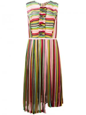 Плиссированное платье в полоску Nº21. Цвет: разноцветный