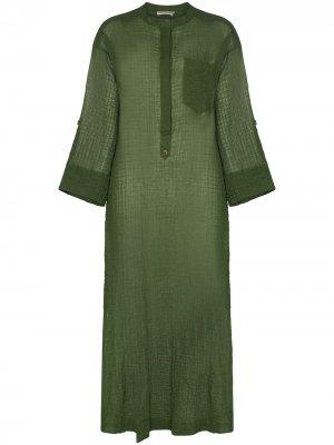 Полупрозрачное платье-кафтан August Three Graces. Цвет: зеленый