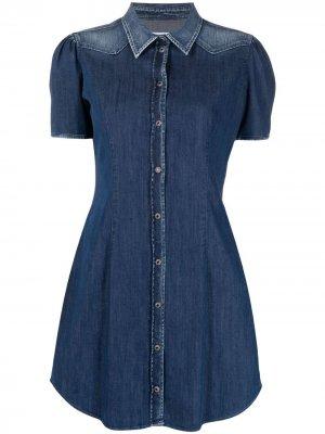Джинсовое платье-рубашка с короткими рукавами Dondup. Цвет: синий
