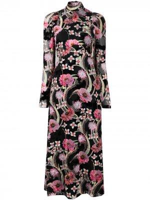 Платье миди Tippi с цветочным принтом Temperley London. Цвет: черный