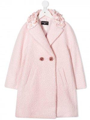 Двубортное пальто Monnalisa. Цвет: розовый