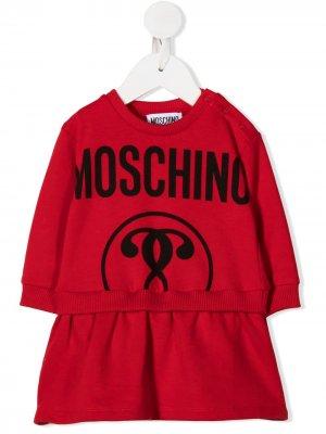 Платье-джемпер с логотипом Moschino Kids. Цвет: красный