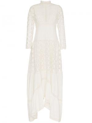 Платье макси с вышивкой ришелье By Timo. Цвет: белый