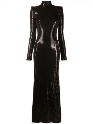 Платье макси с длинными рукавами David Koma. Цвет: черный
