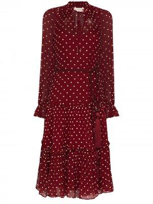Расклешенное платье мини Ladybeetle Zimmermann. Цвет: красный