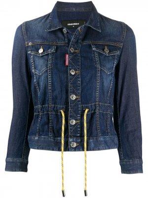 Джинсовая куртка на пуговицахх с кулиской Dsquared2. Цвет: синий