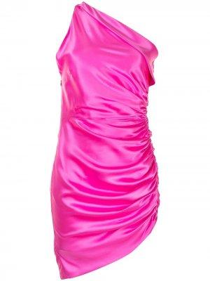 Мини-платье асимметричного кроя Michelle Mason. Цвет: розовый