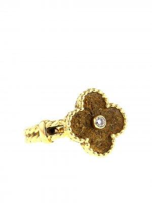 Кольцо Alhambra 1980-х годов из желтого золота с бриллиантами Van Cleef & Arpels. Цвет: желтый,белый