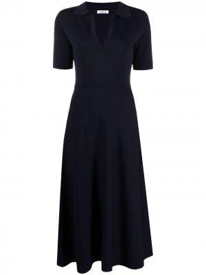 Расклешенное платье с короткими рукавами P.A.R.O.S.H.. Цвет: синий