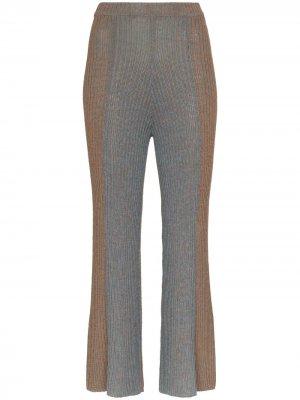 Укороченные расклешенные брюки со складками Eckhaus Latta. Цвет: коричневый