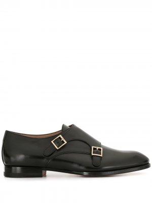 Leather monk shoes Santoni. Цвет: черный