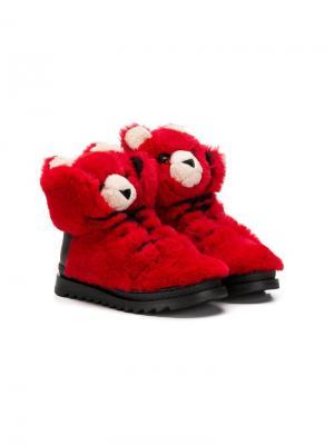 Спортивные ботинки дизайна с медведями Dolce & Gabbana Kids. Цвет: красный