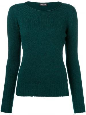 Slash neck sweater Roberto Collina. Цвет: зеленый