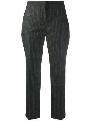 Укороченные брюки в тонкую полоску Alexander McQueen. Цвет: серый