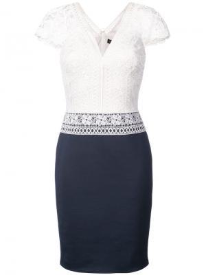 Платье с ажурным вязаным топом Tadashi Shoji. Цвет: белый