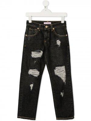 Прямые джинсы с эффектом потертости Miss Blumarine. Цвет: черный