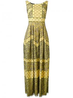 Длинное платье шифт с орнаментом Talbot Runhof. Цвет: желтый