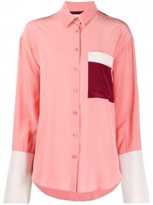Рубашка в стиле колор-блок Chinti and Parker. Цвет: розовый