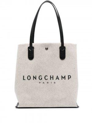 Сумка-тоут из канваса с логотипом Longchamp. Цвет: нейтральные цвета