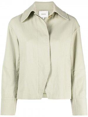 Куртка-рубашка с потайной застежкой Vince. Цвет: зеленый