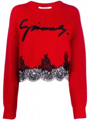 Джемпер с кружевным подолом Givenchy. Цвет: красный