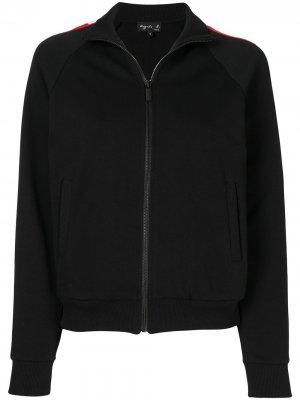 Спортивная куртка с отделкой в полоску agnès b.. Цвет: черный