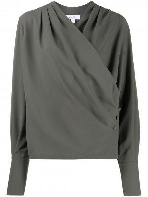Блузка на пуговицах с запахом Beaufille. Цвет: зеленый