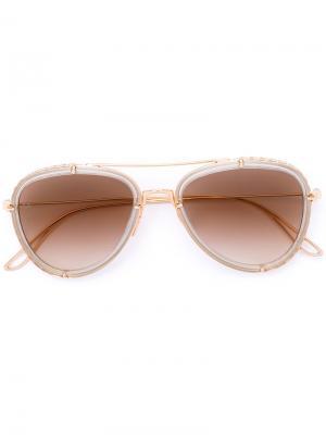 Солнцезащитные очки-авиаторы Elie Saab. Цвет: золотистый