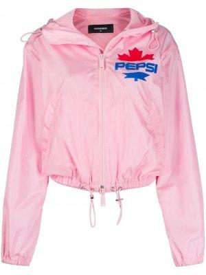 Ветровка с капюшоном из коллаборации Pepsi Dsquared2. Цвет: розовый