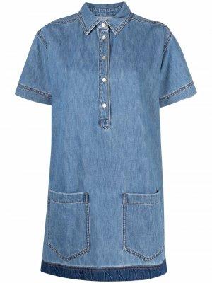 Джинсовое платье-рубашка Ermanno. Цвет: синий