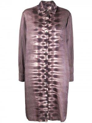 Платье-рубашка с принтом тай-дай Raquel Allegra. Цвет: фиолетовый