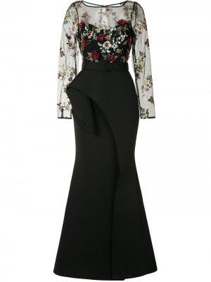 Платье с оборками на подоле Badgley Mischka. Цвет: черный