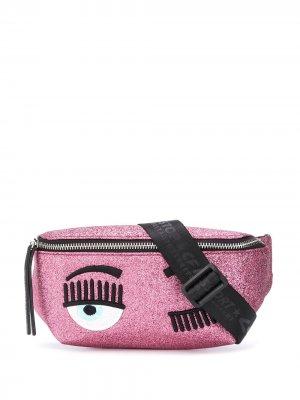 Поясная сумка Winking Eye с блестками Chiara Ferragni. Цвет: розовый
