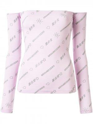 Топ с открытыми плечами и логотипом Ground Zero. Цвет: розовый