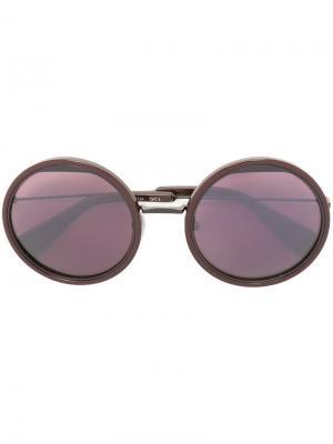 Солнцезащитные очки в круглой оправе Yohji Yamamoto. Цвет: розовый