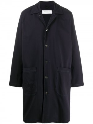 Однобортное пальто оверсайз Société Anonyme. Цвет: синий