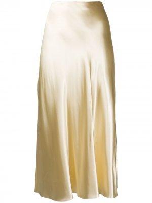 Атласная юбка А-силуэта The Row. Цвет: нейтральные цвета