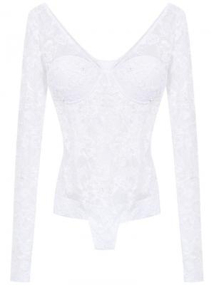 Lace long sleeved swimsuit Amir Slama. Цвет: белый