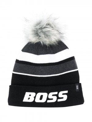 Шапка бини в полоску с помпоном BOSS Kidswear. Цвет: черный