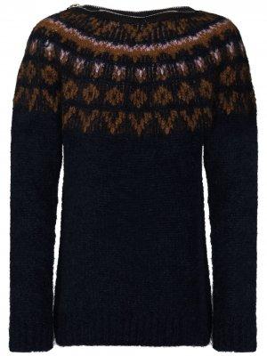 Жаккардовый свитер с воротником на молнии Raf Simons. Цвет: синий