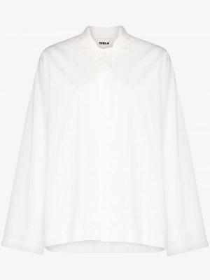 Пижамная рубашка с длинными рукавами TEKLA. Цвет: белый