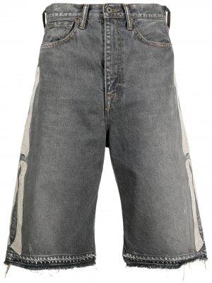 Джинсовые шорты с аппликацией Kapital. Цвет: черный