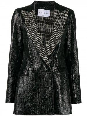 Блестящий приталенный пиджак Hebe Studio. Цвет: черный