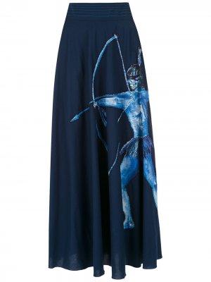 Юбка миди Arara Azul Isolda. Цвет: синий
