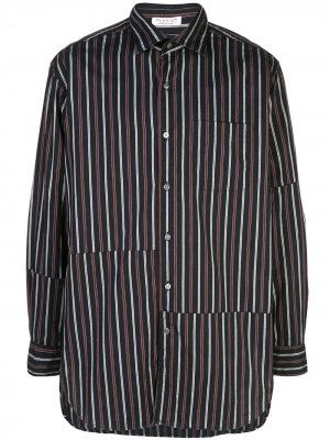 Полосатая рубашка асимметричнго кроя Engineered Garments. Цвет: синий