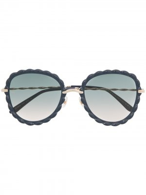 Солнцезащитные очки в круглой оправе Elie Saab. Цвет: синий