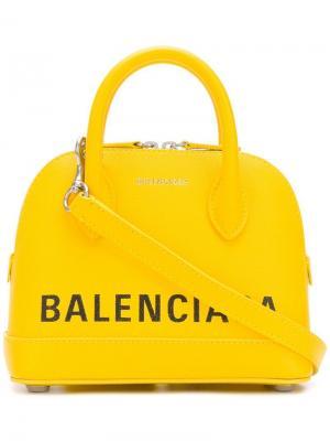 Мини-сумка Ville с верхними ручками Balenciaga. Цвет: желтый