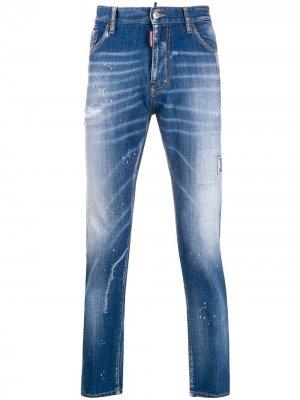 Прямые джинсы с эффектом разбрызганной краски Dsquared2. Цвет: синий